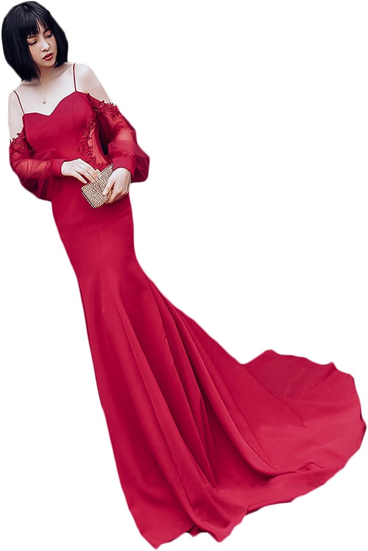 CIRCLEWLD Spaghetti Mermaid Evening Dresses Sleeves Long Off Shoulder Satin Gown Women E156