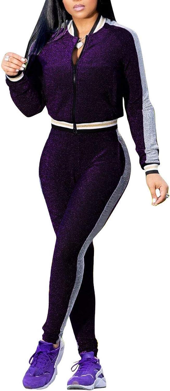 Akmipoem Women's Tracksuit 2 Piece Outfit Long Sleeve Zipper Jacket and Pants Set