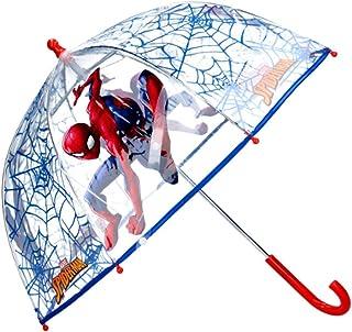 Ombrello a cupola trasparente per bambini, con apertura manuale, da bambina, motivo Spiderman Marvel, 60 cm