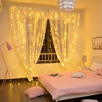 Brightown Hanging Window Curtain Lights 9.8 Ft Dimmable & Connectable with 300 LED, Remote, 8 Lighting Modes, Timer f...