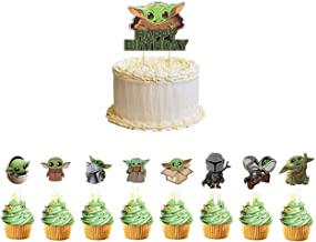 25 Pcs Baby Yoda Party Cupcake Toppers Supplies Star Wars The Mandalorian Theme Birthday Party Cake Toppers decorations Su...