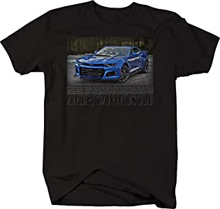 Bold Imprints American Muscle Muscle Car Camaro ZL1 Racing Horsepower Graphic T Shirt for Men