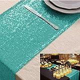 Camino de mesa Camino de mesa de lentejuelas Verde menta 12x72 pulgadas Camino de mesa de comedor Hogar Mantel decorativo para mesa Corredores de mesa brillantes para bodas, Navidad