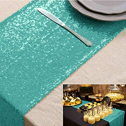 Table Runner Sequin Table Runner Mint Green 12x72-Inch Dining Table Runner Home Tablecover Decorative Christmas Runner For Table Glitter Table Runners Sequined Runner for Wedding Party Supplies
