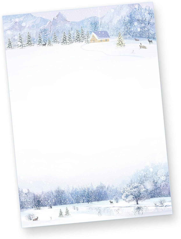 Briefpapier Weiße Weihnacht, 1000 Blatt Weihnachtsbriefpapier mit Winterlandschaft B016Y0ZPG8  | Günstigstes