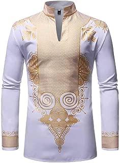 Sayah Mens Slim Stretchy Chain Printed Casual Long Sleeve Work Shirt