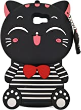 Samsung Galaxy A7 2017 / A720 Case, DUGRO Newest Cute Funny 3D Cartoon Soft Silicone [Thickening Design] [Drop Protective] Rubber Phone Case Cover - Black Striped Cat