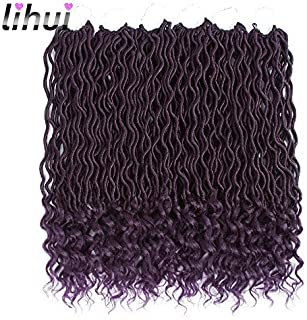 Lihui 6pcs/lot Goddess Locs Crochet Hair Wavy Faux Locs with Curly Ends Synthetic Braiding Hair Extension (14inch(6-PACKS), purple)