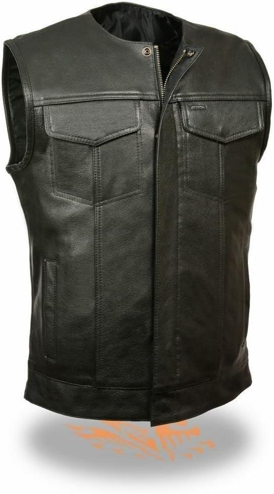 Men's Motorcycle Son of Anarchy Leather Vest 2 Gun Pockets Collarless Black New (4XL Regular)