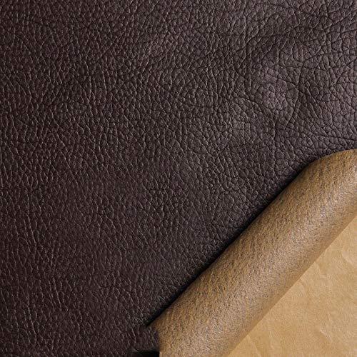 Kit de Parche de Piel,Parches de Piel Cuero Artificial, para Sofá Asientos de Coche Pegatina de Reparación de Polipiel Parches marrón50cmX138cm