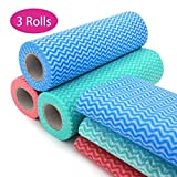Healon Reusable Cleaning Cloths Disposable Cleaning Towels Kitchen Towels Dish Cloths Heavy Duty Eco-Friendly Non Woven Fabric Mutipurpose Handy Wipes 26 pcs/roll