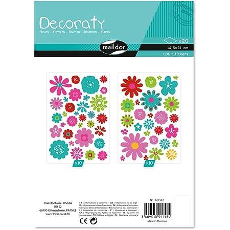 Maildor AE158C - Un sachet de gommettes Decoraty 20 planches 14,8x21 cm, Fleurs (600 stickers)