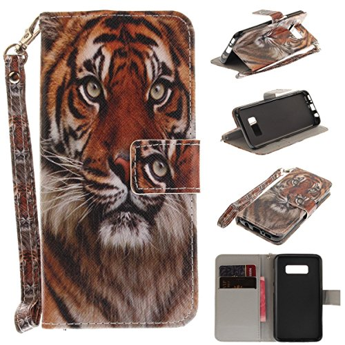 Maoerdo Galaxy J7 Prime / J7 Sky Pro Case, [Tiger][Kickstand Feature][Money Card Slot] Soft TPU Synthetic Leather Wallet Filp Case Cover For Samsung Galaxy J7 Prime / J7 Sky Pro