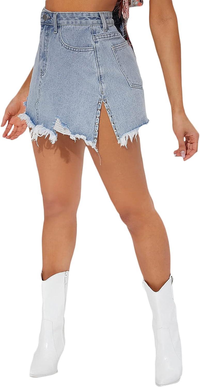 Floerns Women's Casual Ripped Raw Hem Studded Split Side Short Denim Skirt