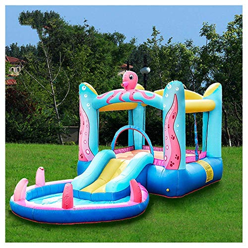 Zjcpow Aufblasbare Hüpfburg mit Gebläse, Jumper House Water Pool Slide Aktivitätszentrum mit Wasserrutsche, Wasserspray und Poolbereich for Kinder xuwuhz