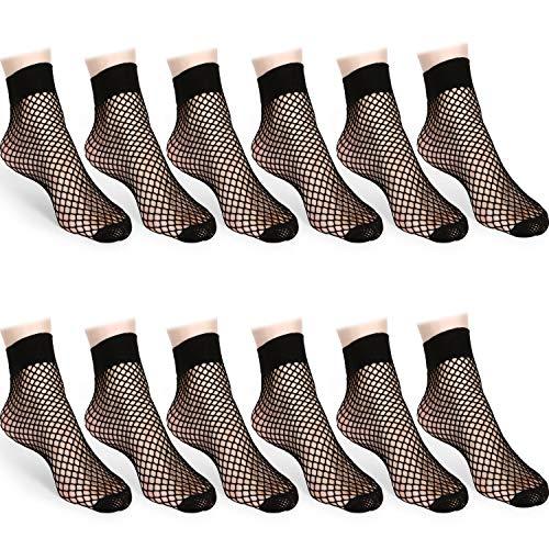 SATINIOR 12 Paare Fischnetz Söckchen Spitze Hohl Kurz Socken Schwarz Mesh Netz Kleid Socken