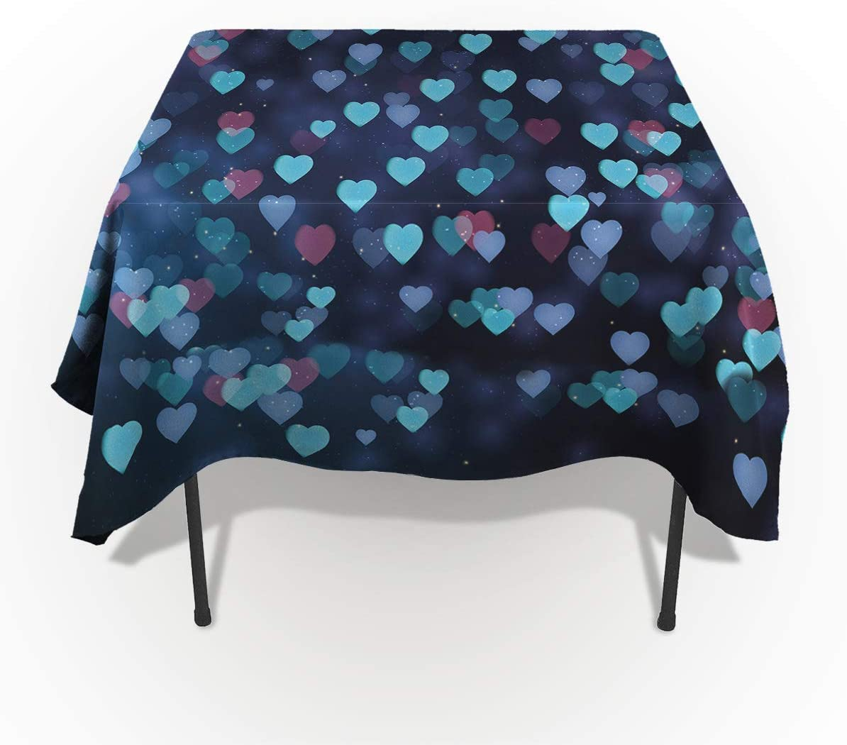 Fantasy Star Latest item Rectangle Year-end annual account Polyester Heart Romantic Tablecloth Blue