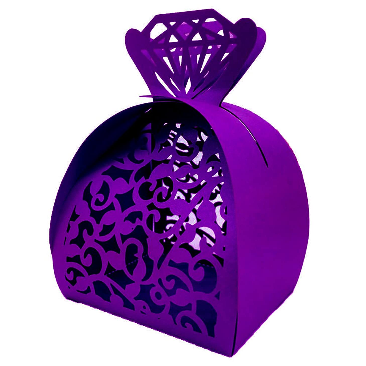 WOMHOPE? 50 Pcs - Jewelry Lock Vine Hollow Laser Cut Roses Flowers Wedding Candy Box Chocolate Candy Wrappers Holders Party Favors for Bridal Shower,Wedding,Party,Birthday Gift (Dark Purple)