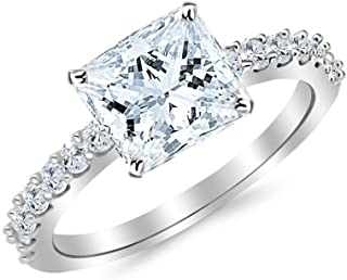 3.5 Carat 14K White Gold Classic Side Stone Prong Set Princess Cut Diamond Engagement Ring (3 Ct J Color SI1 Clarity Center Stone)
