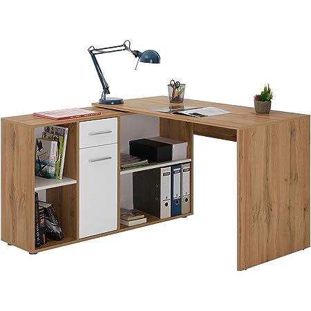 IDIMEX Bureau d'angle Carmen Table avec Meuble de Rangement intégré et modulable avec 4 étagères 1 Porte et 1 tiroir, décor chêne Sauvage et Blanc Mat
