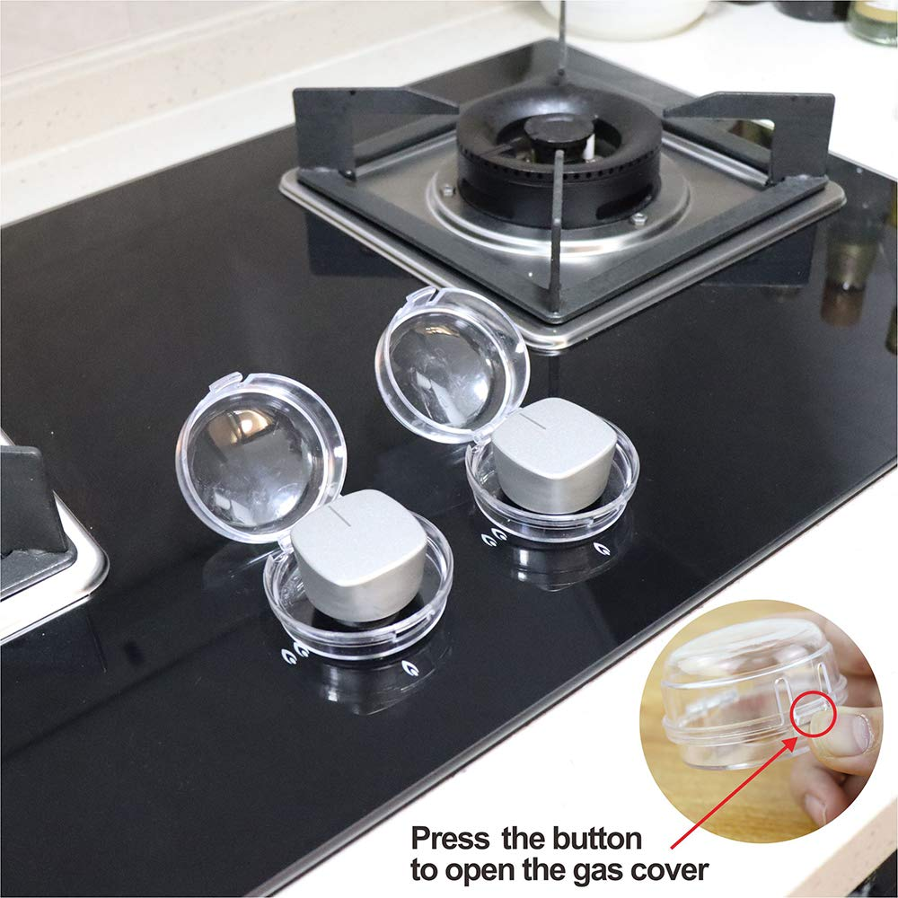 6Pack Clear Childproof Stove Gas Knob Cover(40x52mm), Child Safety Guards, Protect Little Kids with A Child Proof Lock for Oven Stove Top Gas Range, Baby Toddler Kitchen Safety Guard