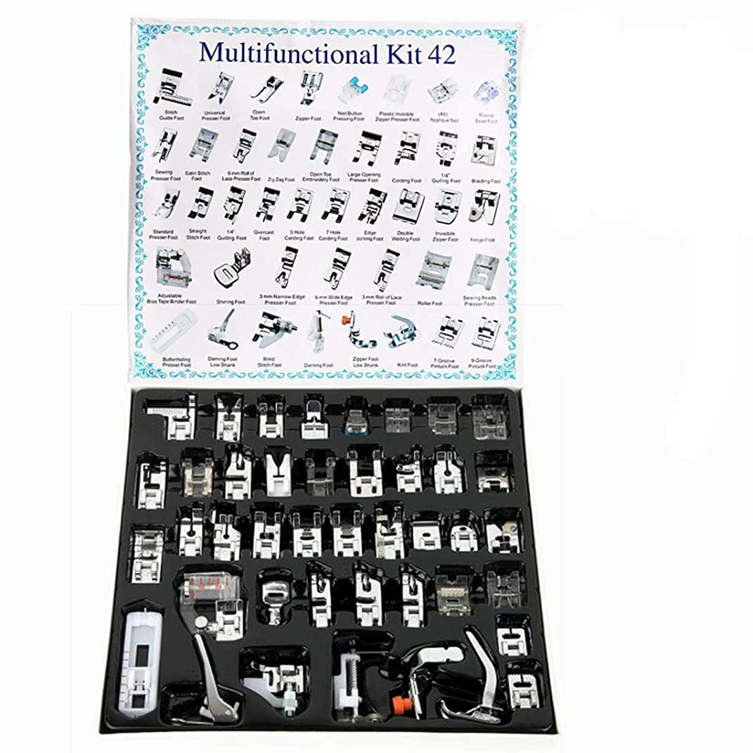 YEQIN 42 PCS Professional Presser Feet Set Presse Foot Domestic Sewing Machine Foot for Brother, Singer, Babylock, Janome, Elna, Etc, Low Shank Sewing Machine