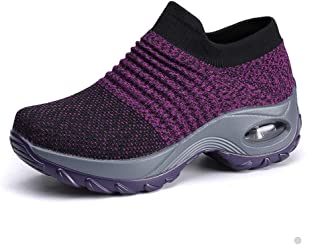 Womens Comfortable Walking Shoes Breathable Mesh Slip On Air Cushion Tennis Sock Sneakers Shoe Casual Running Shoes Wedge Platform Loafers