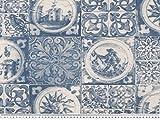 Zanderino ab 1m: Dekostoff, Kacheloptik, Delft, blau-weiß,