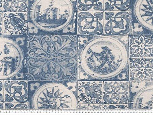 Zanderino ab 1m: Dekostoff, Kacheloptik, Delft, blau-weiß, 140cm breit