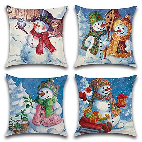JOTOM Funda de cojín de Navidad impermeable, 45 x 45 cm, juego de 4 cojines decorativos para sofá, habitación, exterior, balcón, terraza, patio, jardín, exterior (muñeco de nieve B)