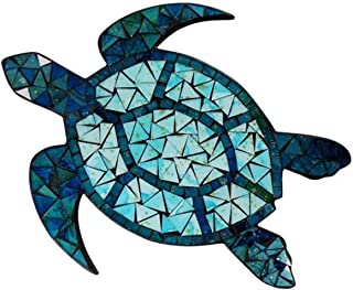 Barry Owens BV640 Mosaic Sea Turtle Mirror Wall Plaque 14.8 Inches x 12 Inches Multi Blue