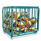 SSZY Estante de Pelota Carrito de Baloncesto Plegable para Guardar Pelotas Deportivas con Ruedas y Cubierta, Organizador de Equipo Deportivo Portátil Grande para Fútbol Voleibol Rugby, Azul