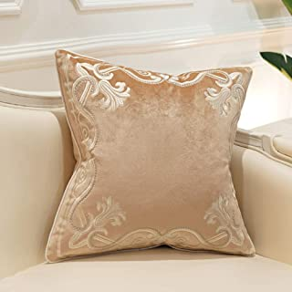Avigers 20 x 20 Inch European Cushion Covers Luxury Velvet Home Decorative Embroidery Petunias Pillow Cases Pillowcase for Sofa Chair Bedroom Living Room, Beige
