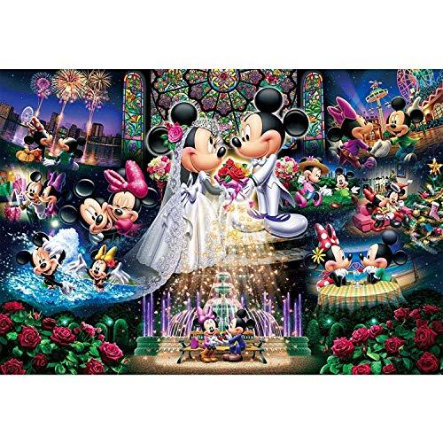Kits de pintura de diamantes para bricolaje Kits de taladros completos, deseos de boda de Mickey Mouse de Disney, pintura de diamantes, arte para decoración del hogar (40 cm * 50 cm)