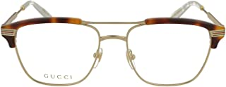 GG 0241O 001 Gold Light Havana Plastic Rectangle Eyeglasses 54mm