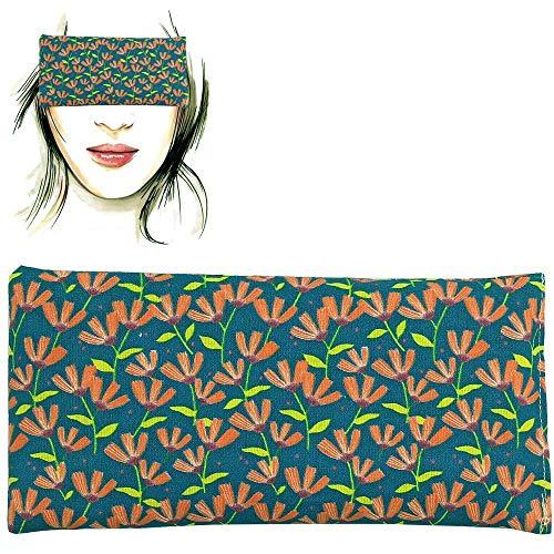 Almohada para los ojos 'Flowers - Green' | Semillas de Lavanda y arroz | Yoga, Meditación, Relajación, descanso de ojos...