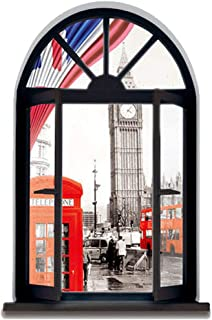 DNVEN 18 inches x 27 inches 3D Full Colour High Definition Vintage London Telephone Booth England Big Ben Bus City Scenery Faux Window Frame Wall Decals Stickers Bedroom Living Room Playroom Decals