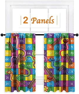 maisi Board Game, Room Darkening Wide Curtains, Cute Snakes Smiling Faces Numbers in Squares Ladders Childrens Kids Play Print, for Bathroom (W72 x L72 Inch) Multicolor