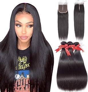 ALLRUN Straight Hair Bundles with Closure Middle Part(16 18 20+14closure) Brazilian Straight Human Hair 3 Bundles with Middle Part Lace Closure Human Hair Extensions Natural Black Color