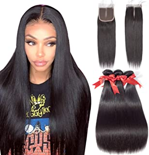 Allrun Hair Straight Hair Bundles with Closure Middle Part(16 18 20+14closure) Brazilian Straight Human Hair 3 Bundles with Middle Part Lace Closure Human Hair Extensions Natural Black Color