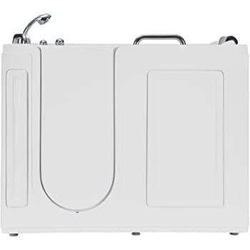 Empava 53 in. Acrylic Whirlpool Walk-in Tub Water Jets Alcove Bathtub with Left Side Door, White