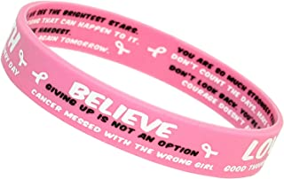 10 Pack Breast Cancer Awareness Bracelets - Pink Silicone Wristbands with White Ribbon Charms and Inspirational Quotes - Gift for Survivors, Patients and Supporters - Support The Girls