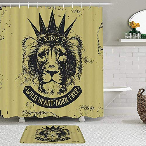 EricauBird Cortina de ducha, diseño retro de la cabeza de león de Rey de las Bestias, estilo de roca salvaje, estilo nostálgico, cortinas de ducha, decoración de baño, 182 x 182 cm