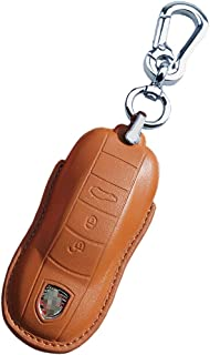 Rockxia Leather Key Fob Cover Holder for Porsche 2014 up Panamera 2015 2016 Cayenne Key Holder Protective Shell Accessories (B, Brown)