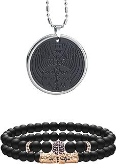 Anti EMF Radiation Protection Pendant, Scalar Energy Pendant Volcanic Lava Negative Ions Energy Pendant Necklace Orgone Pendant and 8mm Black Matte Agate Stone Beaded Bracelet