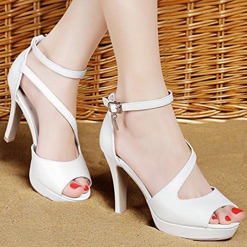 RUGAI-UE Chaussures en Cuir Femmes Sandale d'été,Talons gris 39
