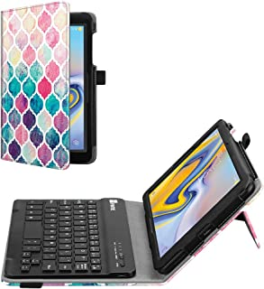 Fintie Folio Keyboard Case for Samsung Galaxy Tab A 8.0 2018 Model SM-T387 Verizon/Sprint/T-Mobile/AT&T, Premium PU Leather Stand Cover with Removable Wireless Bluetooth Keyboard, Moroccan Love
