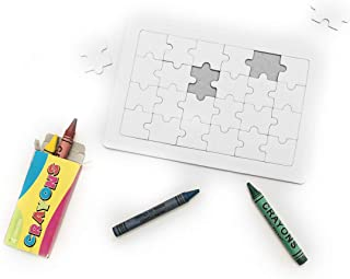 Fun puzzle of 24 pieces in white. With a box of 4 crayons