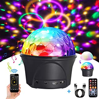 Disco Ball, Sound Activated Party Lights, Disco Lights Party Lights with Remote Control, USB 9 Colors DJ Lights, Wireless Phone Connection LED, Stage Light for Kid Bedroom Bar Club Par