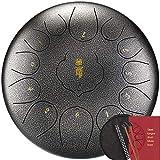 Tambor de lengua de acero, 13 Notas Drum Instrumento de lengüeta de acero de 12 pulgadas C Clave percusión del tambor de acero, con mazos, Tonic pegatina y bolsa de viaje, for acampar, meditación, mus